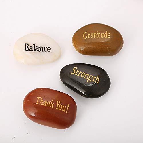 "50PCS RockImpact Engraved Rocks Different Words Inspirational Stones Bulk Faith Stones Novelty Gifts Zen Stones Gratitude Rocks Healing Prayer Stones Encouragement Rocks Wholesale, 2""-3"" Each"