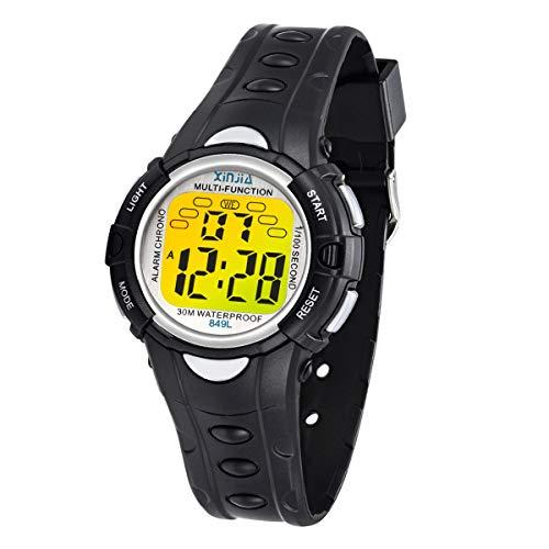 Kinder Digitaluhren, 7 Farben LED-Licht Kinder Sport Armbanduhr Jungen Wasserdicht Kinderuhr mit Alarm Stoppuhr, Kinderuhren Outdoor Armbanduhr für Jungen Mädchen (849L Schwarz)