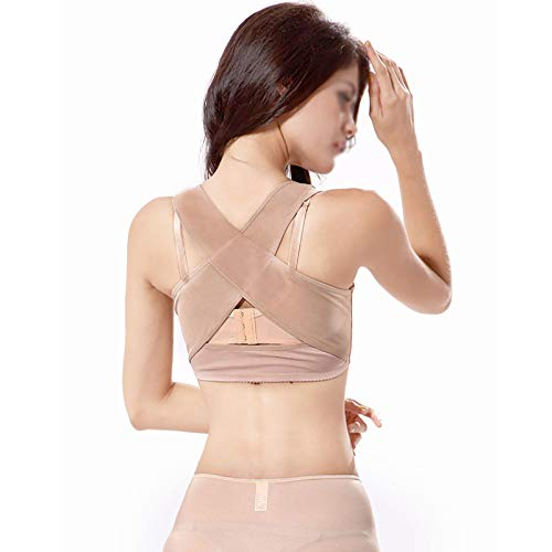 GAOXIAOMEI Tirantes para la Espalda de Las Mujeres Soporte para Pecho Control Corrector Postura Modelador Cuerpo Cuello espinal Fajas Soporte Chaleco,Flesh,M