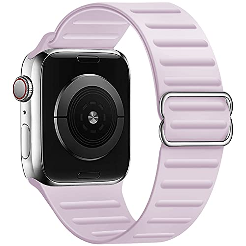 GZ GZHISY Stretchy Solo Loop Band Compatible for Apple Watch 38mm 40mm 42mm 44mm, Adjustable Elastic Silicone Sport Buckle Strap Women Men for iWatch Series 1/2/3/4/5/6/SE, Lavender 42mm/44mm