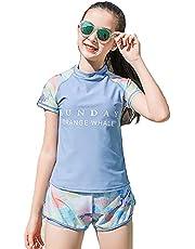 水着 女の子 2点セット トップス パンツ 水着 体型カバー スクール水着 ガールズ 水着 セパレート スポーツウエア キッズ スイムウェア 子供 水着 140/150/160/170