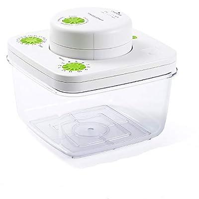PUMICE Vacuum Seal Food Storage Containers Set Vacuum Airtight Food Storage Containers with Automatic Vacuum Sealer Machine, Includes Vacuum Zipper Bag & Wine Bottle Stopper - 2L