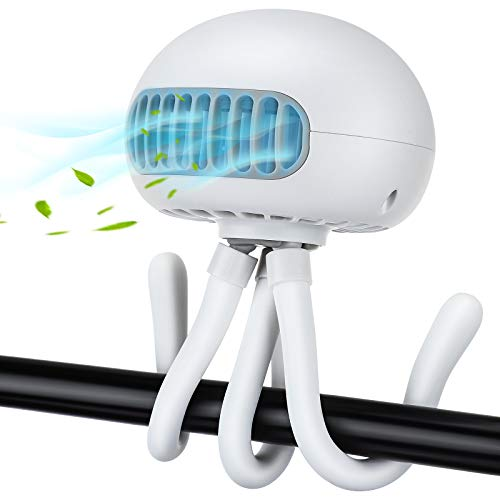 Mini USB Ventilator, Hisome Kinderwagenlüfter Schreibtischlüfter, Tragbarer Handheld Fan, 3-Gang-Tischlüfter Mit Stativ, Rücksitz im Auto Leiser Lüfter, Babybett Lüfter (Weiß)