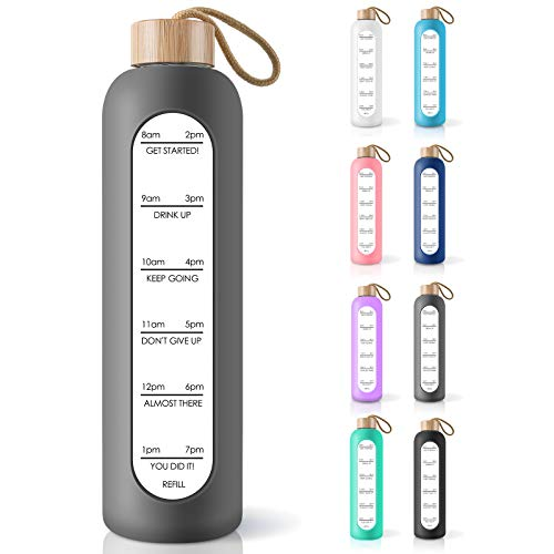 PROBTTL 32 Oz Borosilicate Glass Water Bottle with Time Marker Reminder Quotes, Leak Proof Reusable BPA Free Motivational Water Bottle with Silicone Sleeve and Bamboo Lid