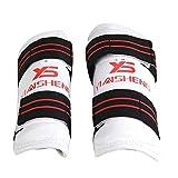 YunJiadodo 4Pcs/Lot Brazo & Shin Guards Taekwondo Karate Brazo Patas Protectores Rodillera Codera Protectores Espesor PU Cuero Protector Set Deportes Seguridad M (Blanco)