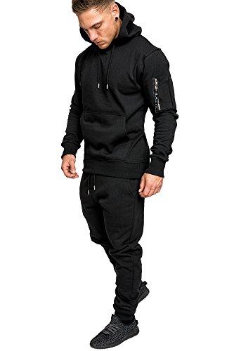 Amaci&Sons Herren Kontrast Sportanzug Jogginganzug Trainingsanzug Sporthose+Jacke 1006 Schwarz S