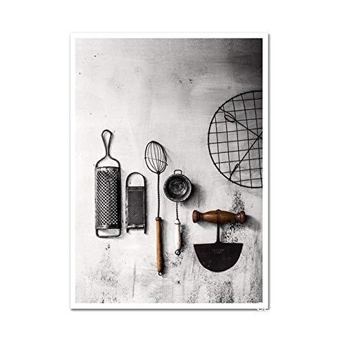 WKAQM Minimalista Pared Arte De la Lona Cuadros Vintage Cocina Utensilios Poster Impresiones Negro Blanco Pared Pintura Comedor Sala Inicio Decoracion Sin Marco