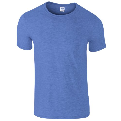 Gildan Soft-Style Herren T-Shirt, Kurzarm, Rundhalsausschnitt M,Heather Royalblau
