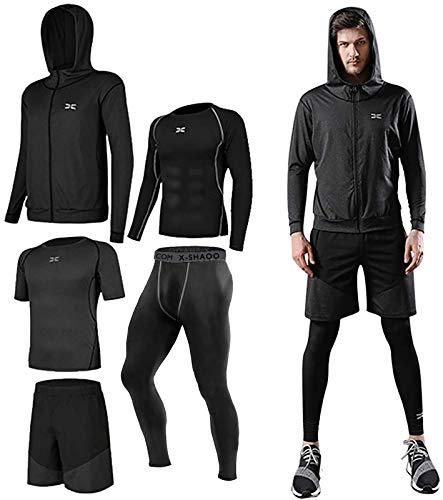 Lachi Herr gym löpning kit shorts träning 5 st set fitness sport kompression träningsoverall kläder grå, L
