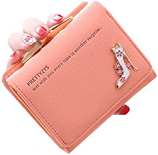 Pretty Elegant High-HEELS Womens Short small Mini Wallet Clutch Wallet Hand purse For Womens Women's Girls Ladies Mini Wallet Clutch Purse 3 Folds Buckle Money Package Card Holder Wallet for Women