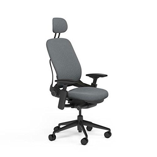 Steelcase Leap Desk Chair with Headrest in Buzz2 Grey Fabric - Highly Adjustable Arms - Black Frame and Base - Soft Dual Wheel Hard Floor Casters