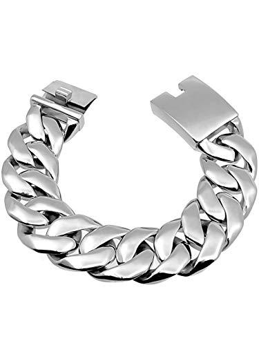 RUGGED steel Herren Edelstahl Armband XXL Panzerarmband Silber hochglanzpoliert
