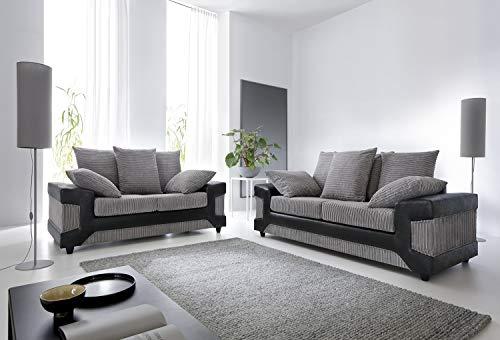 Dino 2-+ 3-Sitzer-Sofa in schwarz & grau, Cord und Wildlederimitat