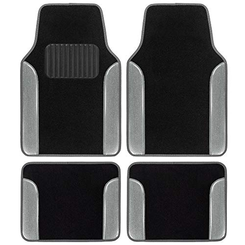 BDK Glitter Design Car Floor Mats, Two Tone Color Carpet with PU Leather Trim Total Protection Durable Liners for Car Truck SUV & Van, All Weather, Silver Glitter (MT-2514-SL)