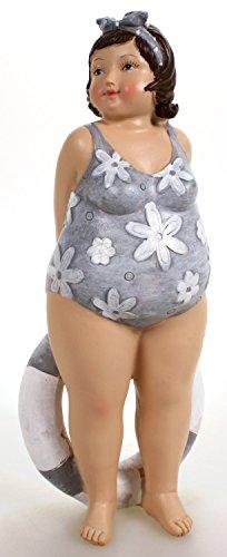 Badenixe mit Schwimmring im geblümten Badeanzug stehend 21 cm Mädchen Rubensfrau mollige Dame Dicke Frau Schwimmerin Badezimmer Figur