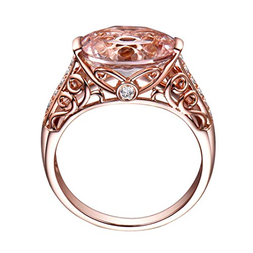 Rings Gift, Clearance Gemstone Ring Rose Gold Rings for Women Luxury Copper Gemstone Ring Jewelry Wedding (Size:7, Rose Gold)