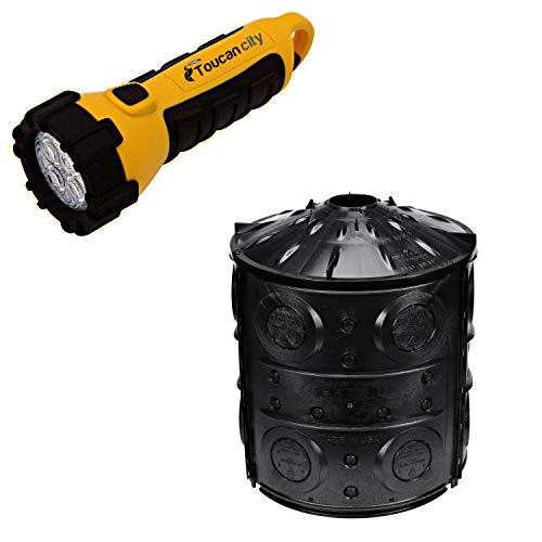 Toucan City LED Flashlight and NDS 40-Gallon Flo Well Storm Drainage Dry Well FWAS24