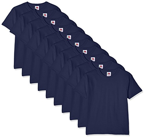 Fruit of the Loom Kids 10 Pack T-shirt, Blu (Navy 32), 9-11 Anni (Pacco da 10) Bambino