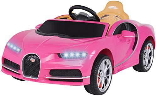 Actionbikes Motors Bugatti - Coche eléctrico para niños, con licencia, neumáticos de goma maciza, mando a distancia de 2,4 GHz, coche eléctrico para niños a partir de 3 años (rosa)