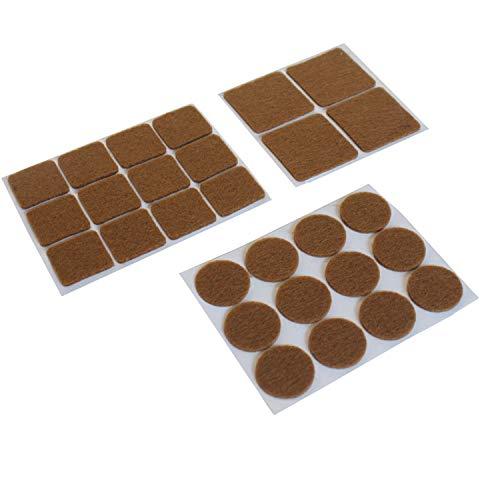 28 tlg. Filzgleiter Set, Rund & Eckig Filzplatten, selbstklebende Möbelgleiter aus Filzstoff für Stuhl- und Tischfüße