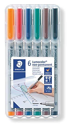 STAEDTLER 316 WP6 Lumocolor Universalstift F-Spitze, circa 0.6 mm, non-permanent, 6 Stück in aufstellbarer STAEDTLER Box