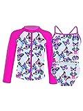 MSemis Bañador Manga Larga de Proteccion Solar Traje de Baño de 3 Piezas Bikini Flores con Camiseta Estampado Ropa de Baño Swimsuit Niña 3-16 años Fucsia 11-12 años