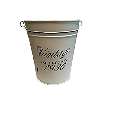 Distressed White Vintage Bath Accessories (Garbage Pail w/Handle)