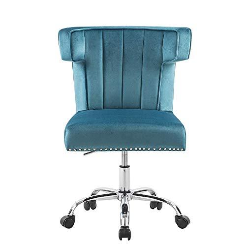 Silla giratoria para ordenador con base de estrella, altura regulable, silla para oficina en casa, para visitantes o despachos, tapizada en color azul marino, perfecta para niñas y mujeres de oficina