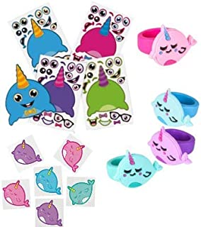 10 Dozen (120) Set of Awesome Narwhal Fun! (72) Temporary Tattoos, (24) Sticker Sheets, and (24) Rings! This is perfect for Birthday Party Favors, Classrooms, Prizes, and More!