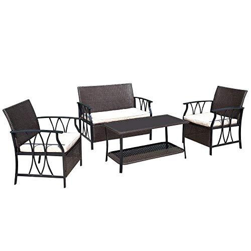 FTFTO Decoración de la Vida Juego de Muebles de jardín de 4 Piezas Patio al Aire Libre Seccional PE Mimbre Rattan Mesa de terraza Sofá Sillas Juego con Cojines