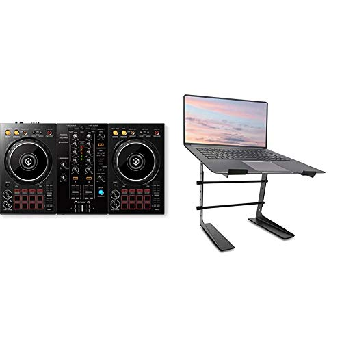 Pioneer DJ DJ Controller (DDJ-400) & Pyle Portable Adjustable Laptop Stand - 6.3 to 10.9 Inch Anti-Slip Standing Table Monitor or Computer Desk Workstation Riser