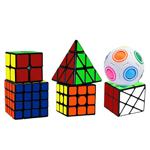 lunaoo Speed Cube Set Magic Cube 6 Piezas 2x2 3x3 4x4 Pyraminx Fisher Magic Rainbow Ball, Cubo Magico Puzzle 3D Rompecabezas Regalos de Juguetes para Niños y Adultos