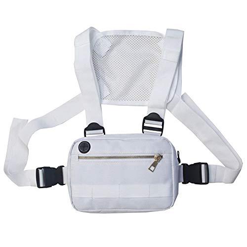 XINYIND XYDZ Pecho Rig Bag Función Hip Hop Ajustable Táctico Bolsas Riñonera Streetwear Riñoneras Hombro Cruzada Paquetes de Cintura Funcionales Bolsa de Accesorios Teléfono Móvil Unisex - Blanco