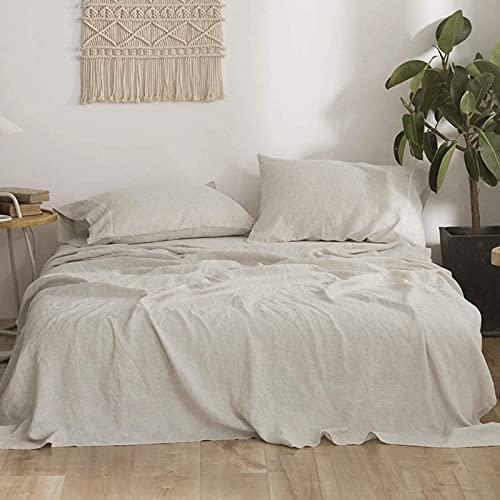 Simple&Opulence 100% Linen Sheet Set Queen Size-4 Piece European Flax Linen Bed Sheet (1 Flat Sheet,1 Fitted Sheet,2 Pillowcases) -Breathable Soft Hemstitched Linen Bedding Set-Natural Linen