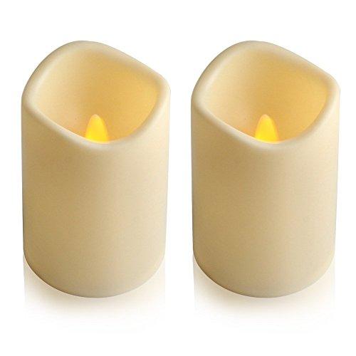 Jianyana - Velas de té con pilas, 10 x 7 cm, sin llama, con temporizador de 6 horas, velas LED pilares (paquete de 2)