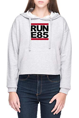 Vendax Run E85 Damen Bauchfreies Crop Kapuzenpullover Sweatshirt Grau Women's Crop Hoodie Grey