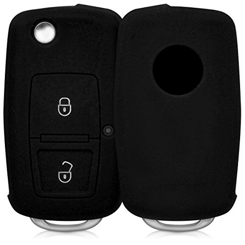 kwmobile Funda de Silicona Compatible con VW Skoda Seat Llave de Coche Plegable de 2 Botones - Carcasa Suave de Silicona - Case Mando de Auto Negro