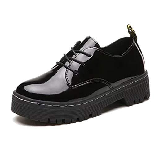 Zapatos de Plataforma para Mujer Otoño Impermeable Charol con Cordones Pisos de Punta Redonda Zapatos Oxfords Retro Zapatos de Cuero Casuales Femeninos