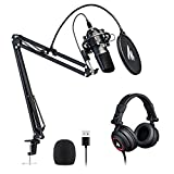USB Microphone with Studio Headphone Set 192kHz/24 bit MAONO AU-A04H Vocal Condenser Cardioid Podcast Mic for Mac and Windows, YouTube,...