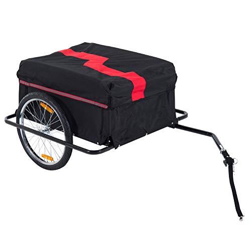 HOMCOM Remorque de Transport Velo Cargo Pliable Charge Max.60kg avec 4 reflecteurs et Housse Amovible Rouge Noir