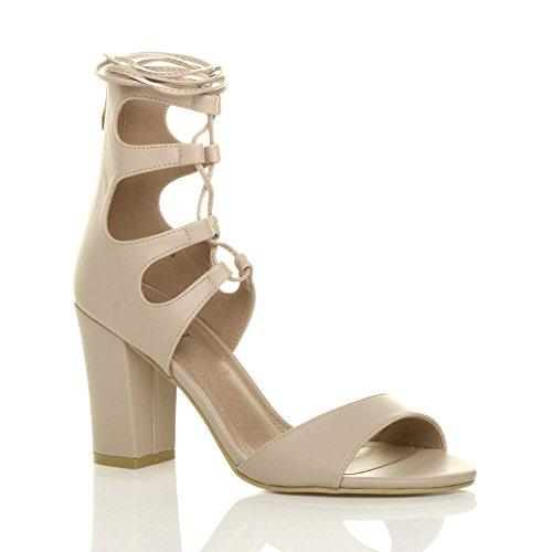 Damen Hohe Absatz Ausgeschnitten Schnür-Pumps Peeptoe Schuhe Sandalen Größe 8 41