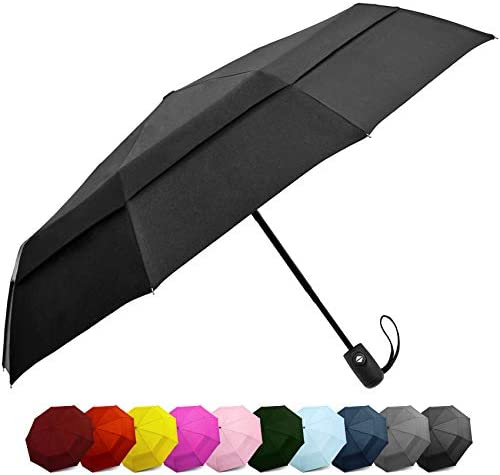 Compact Travel Umbrella w Windproof Double Canopy Construction - Auto Open Close Button for One Handed Operation Sturdy - Portable and Lightweight for Easy Carry