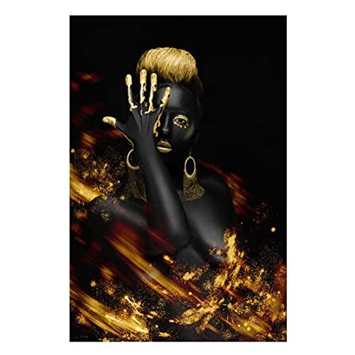 YABINGA Mujer Africana Abstracta Arte de la Pared en Negro y Dorado Pintura en Lienzo Impresión del Cartel Imagen Decoración para el hogar Obra de Arte (40x50cm) Sin Marco