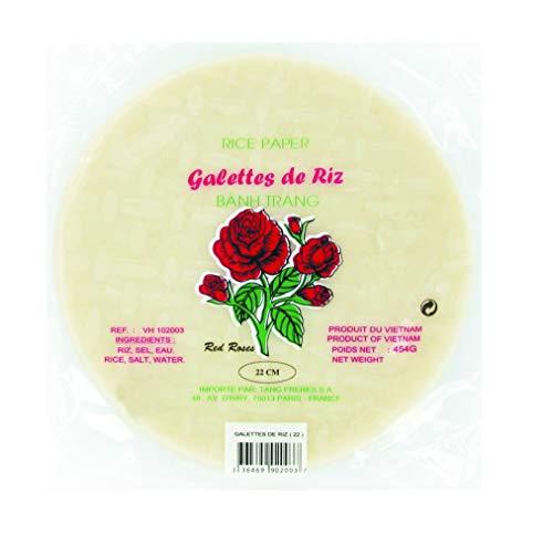 Feuilles de riz / Galettes de riz rondes vietnamiennes Banh Trang - Nems et rouleaux de printemps - Diamètre 22CM - Marque Red Roses - 454G (2 Sachets)