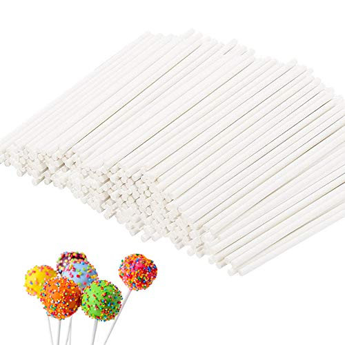 200 Count White Lollipop Sticks,6-Inch Paper Sticks Sucker Stick for Cake Pops,Cupcake Toppers,Candy Melt,Chocolate,Cookie,Dessert(Dia 3.5mm)