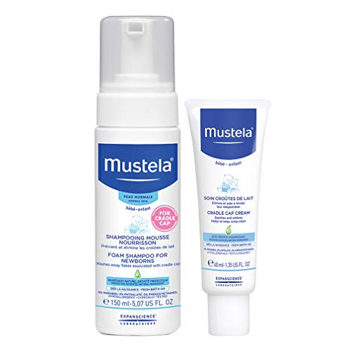 Mustela Cradle Cap Bundle, Natural Baby Shampoo and Cradle Cap Cream Set