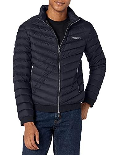 A|X ARMANI EXCHANGE Chaqueta acolchada con capucha para hombre Milano/New York Logo Zip-up, Azul marino/gris mezcla., Small