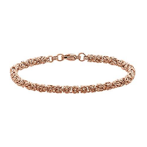 Heideman Halskette Damen Pars aus Edelstahl Rosegold farbend matt Armkette für Frauen Länge 18cm Königskette Panzerarmband