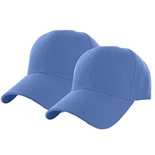 Briskorry 2 unidades de gorra de béisbol transpirable para hombre y mujer, monocolor, moderna gorra de alta calidad, informal y cómoda azul claro L