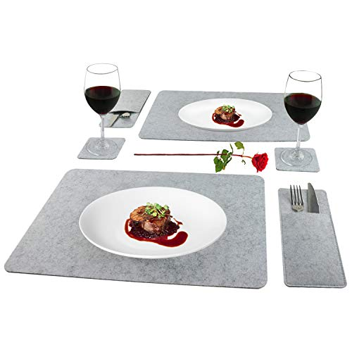 Placemats for Dining Table Washable Absorbent Felt Table Mats Heat Resistant No-Slip Place Mat with Coasters and Cutlery Pouch Set of 6 Pcs